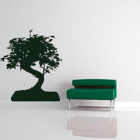 Bonsai Tree Growing Silhouette Fleurs et arbres Stickers muraux Accueil Décalcomanies disponible en 5 dimensions et 25 couleurs Grand Cuir