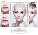 FASCINATE Miroir de Maquillage Triple, Miroir de Bureau Lumineux à LED de Magnification 1X / 2X / 3X /10X Batterie et Charge USB Rotation de 180 Degrés Libre Réglable(White)