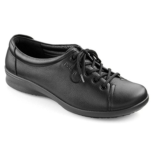 Hotter Womens Dew Black Leather Lace Wide Fitting Shoe UK 5.5
