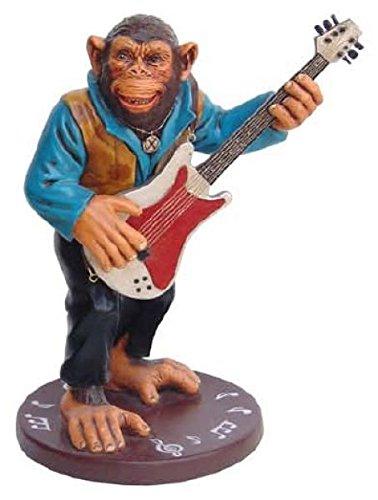 Affe an der Gitarre lebensgroß 46cm für draußen aus Polyresin (Lackierte Gitarre)