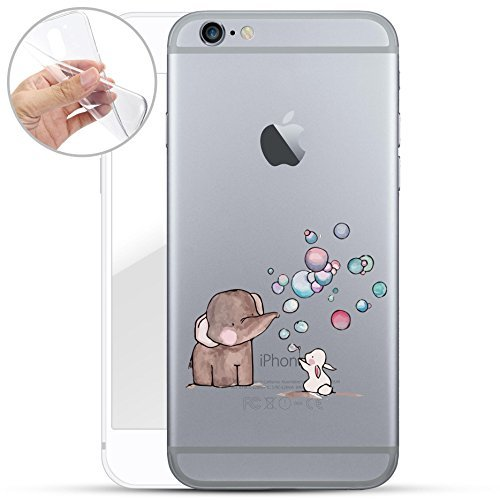 finoo | iPhone 6 Plus und 6S Plus Weiche Flexible Silikon-Handy-Hülle | Transparente TPU Cover Schale mit Motiv | Tasche Case Etui mit Ultra Slim Rundum-Schutz | Elefant Hase Seifenblasen
