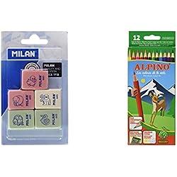 Milan BMM9222 - Pack de 5 gomas de borrar de caucho sintético flexible, modelo de figurinas surtido + Alpino 654 - Lápices de colores