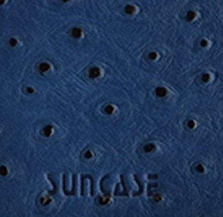 iPhone 7 - Original SunCase® (Backcover) in Straußenleder Look Tasche Schutzhülle Hard Case aus echtem Leder in dunkelbraun + Panzerglas Folie 9H Blau