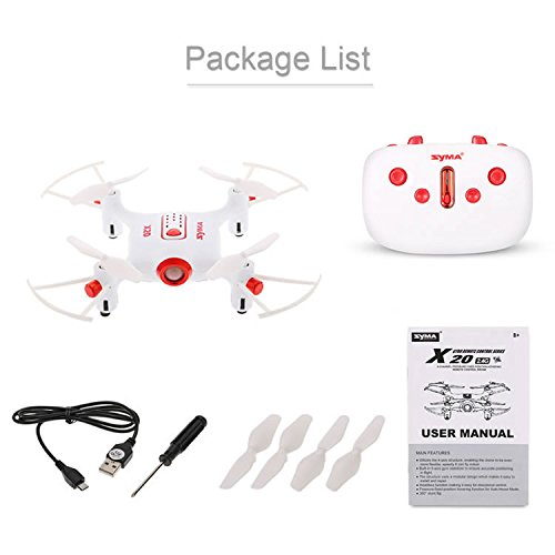 Toy House Syma Compact X20 Pocket Drone 2.4G, 4CH Gyro 6-Axis RC Quadcopter (White)