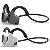 Fesjoy Bone Conduction Headset Wireless Bluetooth 5.0 Earphone IPX5 Waterproof Neck-strap Outdoor Sports Music Headphone Hands-free w/Mic Black for iOS Android Smartphones Tablet PC