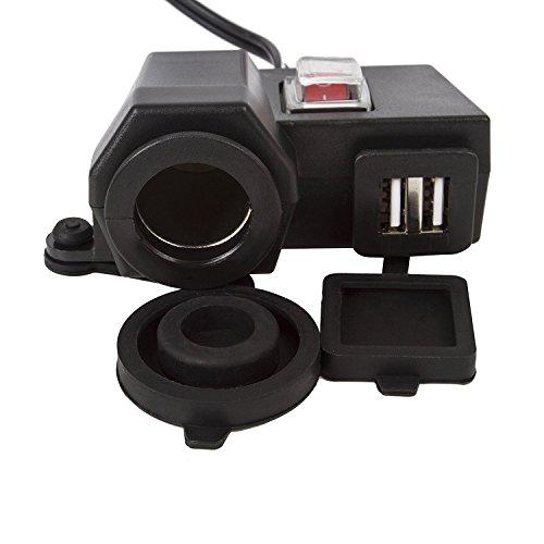 Preisvergleich Produktbild Wasserdichtes Dual-USB-Ladegerät (5 V / 2.1 A) für das Motorrad mit Lenkerklemme und 12-V-Zigarettenanzünder-Buchse,  schwarz