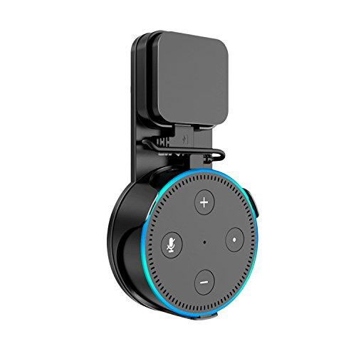 Awortek Halterung für Echo Dot 2 Wandhalterung mit Ersatz USB Kabel, total kompatibel Kein Kleber, Kein Band, Keine Schrauben, Keine anderen Zubehör zu behoben in Kueche, Schlaffzimmer, Wohnzimmer - schwarz