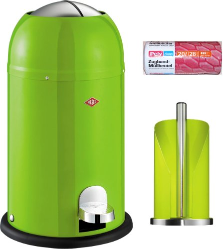Wesco Kickmaster junior 12-Liter Abfallsammler limegreen + Küchenrollenhalter limegreen + 28 Müllbeutel im Set