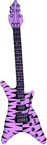 Guitarra de rock inflable color rosa fluorescente
