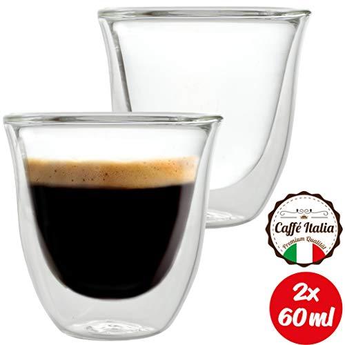 Caffé Italia Napoli 2 x Tasse Double Paroi 60 ml - Tasse Expresso 8 cl - Espresso en Verre - Coffret de 2 Tasses à Café Double Paroi - Cadeau Parfait pour Toute Occasion