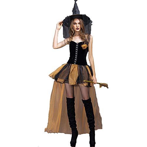 Cagymj cosplay collezione estiva da donna,medioevo abito vintage vestito tuta da strega gialla attillata vestiti spettacoli,costumi di carnevale festa per adulti halloween,xl