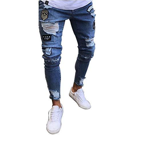 Herren Zerissene Jeanshose Stretch Skinny Denim Freizeithose Vintage Bequeme Größen Fashion Destroyed Löcher Jeans Hosen Kleidung (Color : Hellblau, Size : M) -