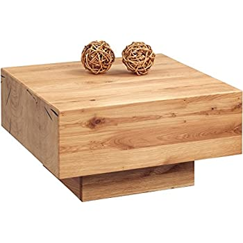 HomeTrends4You 249822 Table basse en chêne massif huilé, 65 x 35 x 65 cm