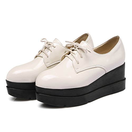 RoseG Femmes Mode Lacets Flache Derbies Plateforme Creepers Blanc