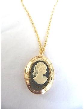 Schöner Schwarzer Kamee-Anhänger Halskette Mit Medaillon Vergoldet 50,80 Cm Halskette Und Medaillon