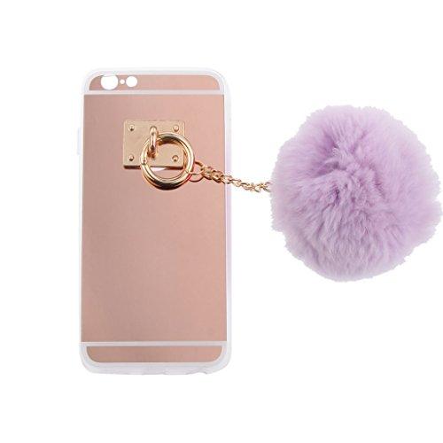 Rot Hülle Schutzhülle Hart Case Back Cover mit Künstliche Plüsch Ball Hairball Anhänger für Iphone 6 Plus / 6s Plus - Weiß Lila