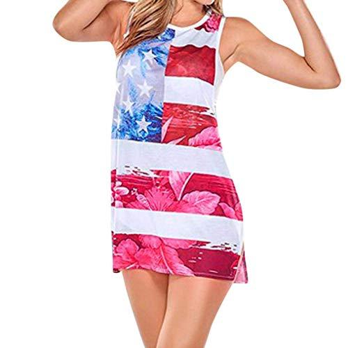 (Qiusa Damenkleider Sexy Vintage Girls Druck Knielang A-Line Lose Sommer Schulterfrei Ärmellose Taschen Lässig - Amerikanische Flagge 4. Juli T-Shirt Mini Größe Unabhängigkeitstag)