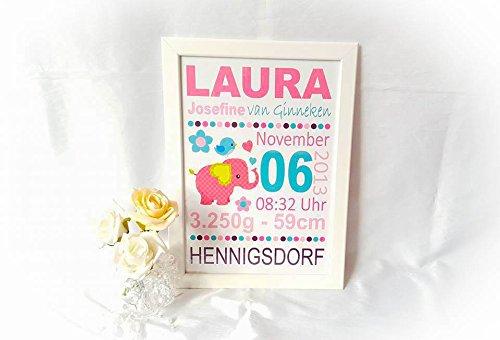Namensbild - Baby - Kind - Personalisiert - Geburtsgeschenk - Türschild - inkl. Rahmen - Mädchen u. Junge, Taufe, Geschenk (Pink, Elefant)