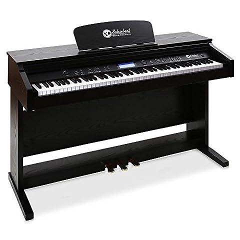 Schubert Subi88P3 • E-Piano • Keyboard • MIDI-Unterstützung • Anschlagdynamik • 150 vorinstallierte Instrumente • 100 Rhythmen • 51 Demo-Lieder • 3 Pedale • LCD-Display • 4 Speicherplätze • Dual-Funktion • Metronom • Notenständer • schwarz