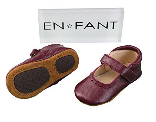 EN-FANT fille chaussures babies scratch en cuir, argent, taille 19, 810102A-01 bordeaux