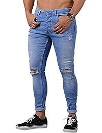 ITISME Jeanshosen Mens Stretch Denim Pants Distressed Ripped Freyed Slim Fit Zipper Jeans Hosen Sommer Sport Stretch Streetwear Hosen