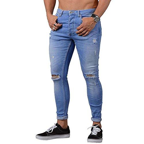 Wwricotta Herren Skinny Jeans Schlaghosen Motorrad Biker Jeanshose Löchern Denim Jeans Hosen Hippie Hose Freitzeithose Streetwear