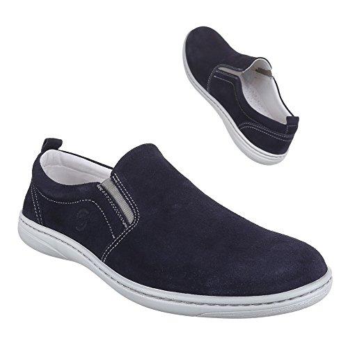 Herren Schuhe, 10491, HALBSCHUHE LEDER SLIPPER FREIZEITSCHUHE Blau