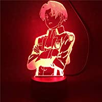 BEAUTYBIGBANG 2021 3D Illusion Lampe Led Veilleuse Anime Attaque Sur Titan Capitaine Levi Ackerman Figure Lampe De Table…