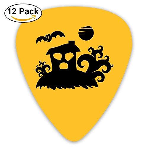 Celluloid Guitar Picks Mandolin Guitar Plectrums,Print Spooky House Landscape With A Bat,12 Pack (Kit House Bat)