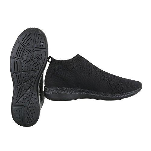 Slipper Damenschuhe Herrenschuhe Leichte Unisex Sneakers Ital-Design Halbschuhe Schwarz BY3111