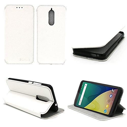 XEPTIO Wiko View Prime 4G 5.7 Zoll Tasche Leder Hülle weiß Cover mit Stand - Zubehör Etui Wiko View Prime Dual SIM Flip Case Schutzhülle (PU Leder, Handytasche Weiss) Accessories