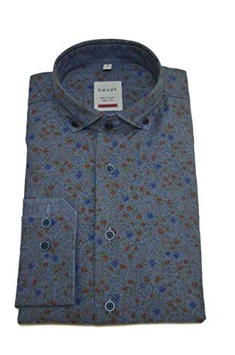 Haupt Herren Modern Fit Baumwoll-Hemd Blau