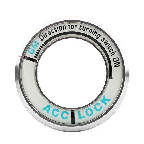 Keenso Auto Aluminiumlegierung Leuchtende Zündschlossabdeckung Zündschlüssel Dekoration Ring Zierleiste Schlüssellochabdeckung(Silber) -