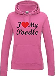I Love Heart My Poodle Dog Candyfloss Pink Womens hoody With Black Text & Red Heart