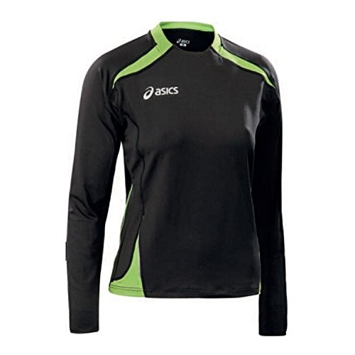 Asics - Top de manga larga para mujer, para correr, color Black / Lime