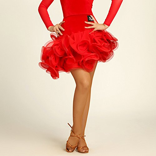 Wanson Frauen Classic Latin Dance Rock Square Dance Kleid Halb Rock Latin Dance Rock Tanzwettbewerb Performance Dress,Red,M (Square Hose Kostüm)