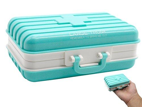 PuTwo Pillendose für Reise 6 Fächer Koffer Form Pillenbox tragbar Tablettenbox - Blau (Tags Stoff-tasche)