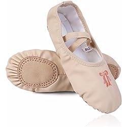 FEESHOW Zapatillas de ballet Zapatos Rosas de Bailarina Ballet zapatos de Cuero Ballet de Danza Baile para Niñas