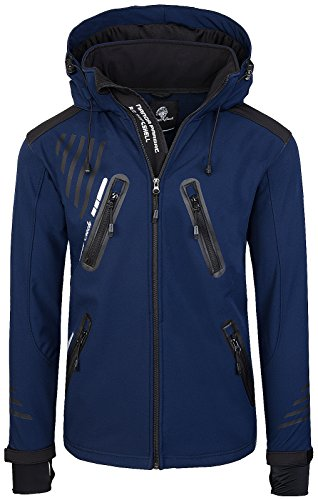 Rock Creek Herren Softshell Jacke Outdoorjacke Windbreaker Übergangs Jacke H-140 [Navy M]
