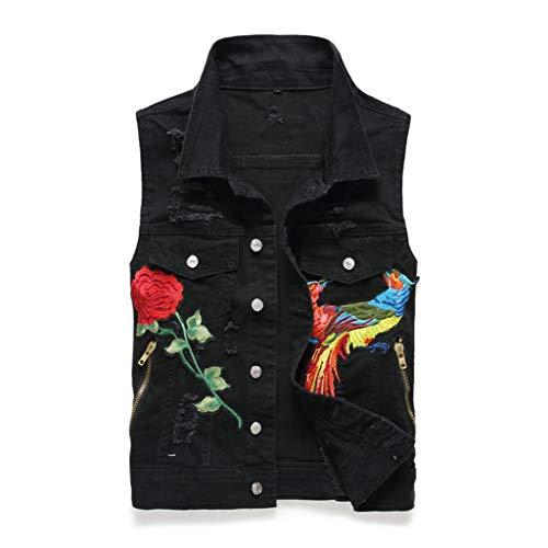 Vest Chaleco Mezclilla Hombres Letras Bordadas Negro