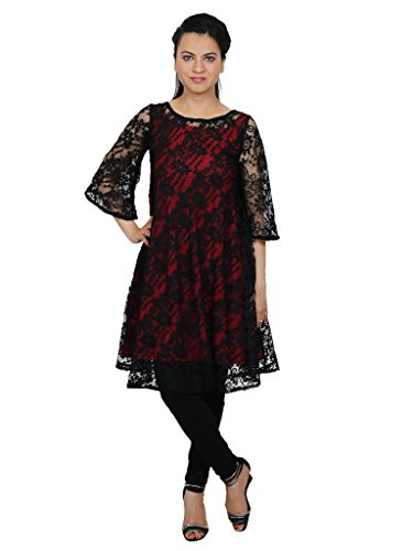 Express 2 Impress Women's smart black floral net A-line w/ mehroon lining duoble shaded dress kurti suit (ABC-110-XS_black_XS)  available at amazon for Rs.899