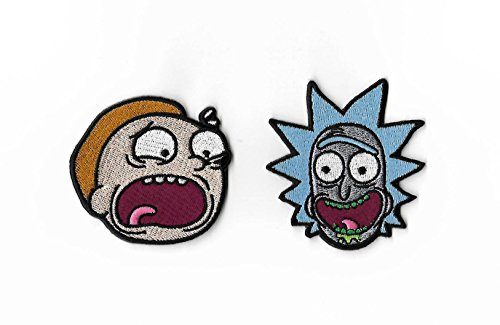"Rick & ~ Morty Parches (2,5"") Set de 2 totalmente bordado hierro o coser en insignias aplique recuerdo DIY disfraz Rick Sanchez Cosplay"