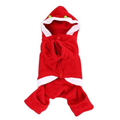 QCHOMEE Winter-Kostüm für Hunde und Katzen, mit Kapuze, warm, Weihnachtsmann-Kostüm, SAMT, Größe M, L, XL, 2XL, L, Red - Female Models (Anzug Baby Weihnachtsmann)