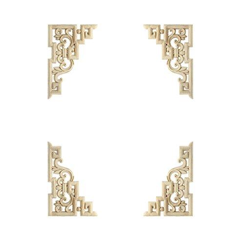 4 stück links + rechts (jeweils 2 stücke) Vintage Holzgeschnitzten Ecke Onlay Möbel Wand-dekor Unlackiert Rahmen Applique 15 * 10 cm (Ecke Schrank Möbel Verwendet)