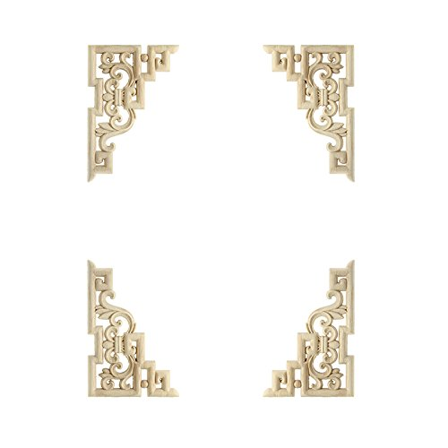 4 stück links + rechts (jeweils 2 stücke) Vintage Holzgeschnitzten Ecke Onlay Möbel Wand-dekor Unlackiert Rahmen Applique 15 * 10 cm