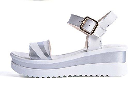 Frühling und Sommer Damen Fischkopf Zehen Metallschnalle Slip On Slip On Keilabsatz Plateau Moderne Slippers Römische Sandalen Silber