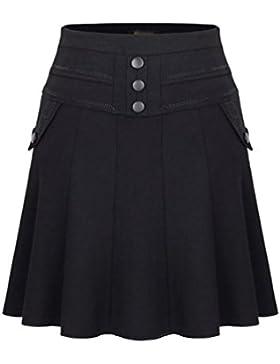 ZhiYuanAN Mujer Falda Plisada De Cintura Alta Con Dos Bolsillos Talla Grande A Línea Faldas Campana Casual Volantes...