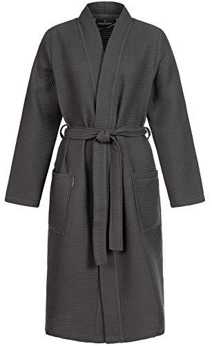 Morgenstern Mujer Albornoz Kimono Bata de Piqué Algodón Gris Talla 46/48
