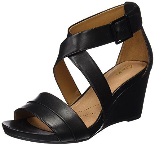 Clarks Acina Newport, Sandales Bout Ouvert Femme Noir (Black Leather)