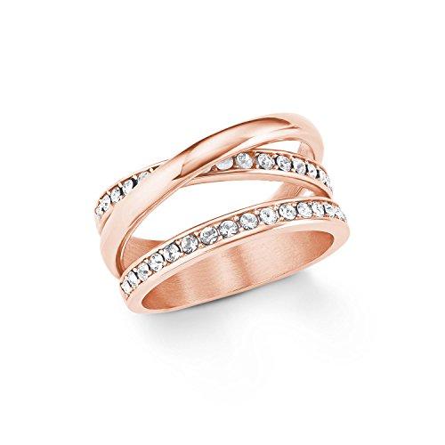 s.Oliver Damen Ring Edelstahl IP Rose veredelt mit Swarovski Kristallen